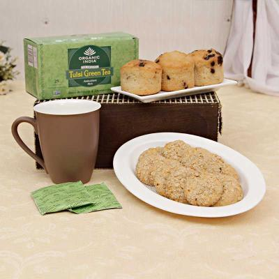 Assorted sugarfree muffins oats cookies with green tea hamper assorted sugarfree muffins oats cookies with green tea hamper giftsend home and living gifts onlinel11014488 igp negle Choice Image
