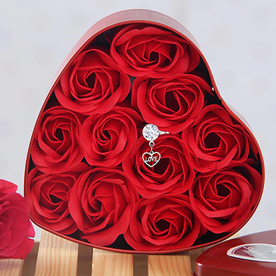 Beautiful Love Ring With Scented Artificial Roses In Heart Shaped Box