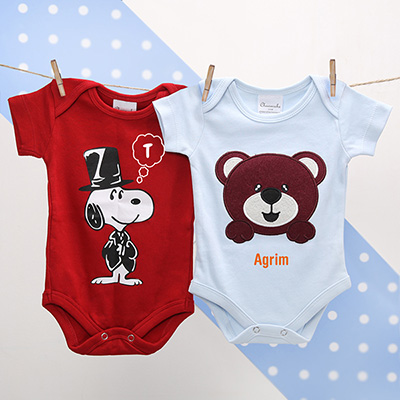 Personalized baby shower gifts online send personalized gifts to cute set of two personalized baby onesies negle Images