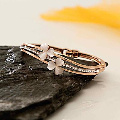 CZ Studded Floral Design Bangle Bracelet in Rose Gold Tone