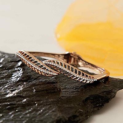 CZ Studded Leaf Shaped Bangle Bracelet in Rose Gold Tone