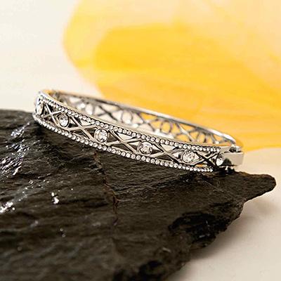 CZ Studded Wide Bangle Bracelet in Silver Tone