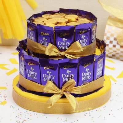 Birthday gifts for men best birthday gift ideas for menhim dairy milk and gold coin chocolate bars cake negle Images