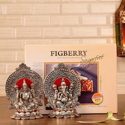 Divine white metal laxmi ganesha with sugarfree figberry gift divine white metal laxmi ganesha with sugarfree figberry negle Choice Image