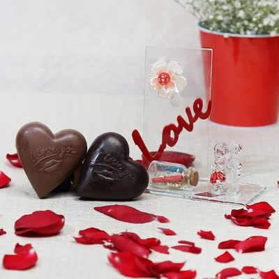 Love Showpiece With Heart Shaped Chocolates