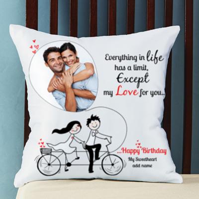 Romantic birthday gifts for husbandwife boyfriendgirlfriend no limit for love personalized birthday cushion negle Images