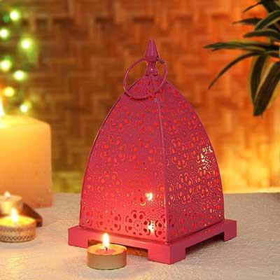 Pink Abstract Metal Lamp