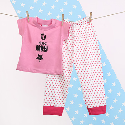 Personalized baby shower gifts online send personalized gifts to pink my star t shirt bottom set for girls negle Images