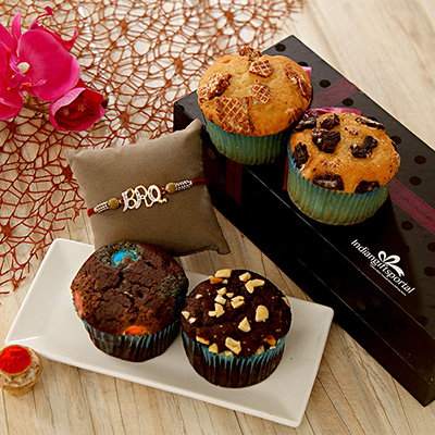 Rakhi for bro with 4 pc assorted sugarfree muffin box giftsend rakhi for bro with 4 pc assorted sugarfree muffin box negle Choice Image