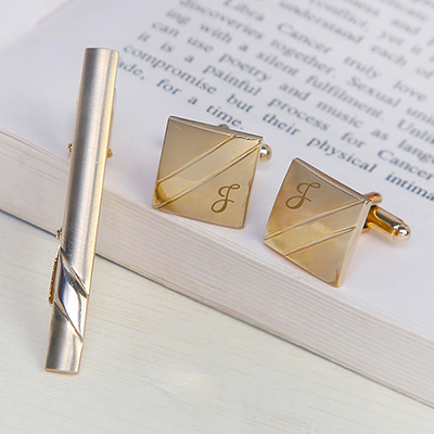 Personalized fashion accessories send personalized gifts to set of personalized golden cufflinks with tie pin negle Choice Image