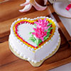 1.5 Kg Heart Shaped Pineapple Cake with Cream Flower Toppings