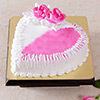 1.5 Kg Heart Shaped Strawberry Cake