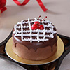1 Kg Round Chocolate Cake Topped with Cream and Cherries