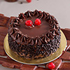 1 Kg Round Chocolate Cake with Chocolate Chips & Cherry Toppings