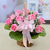 10 Pink Roses in a Basket