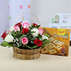 15 Mix Red,White & Pink Roses with Soan Papdi