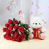 18 Red Roses with Teddy & Cadbury Celebrations Box