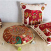 2 Katha Patchwork Cushions with Fillers & Traditional Pouffe