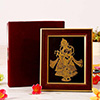22 carat Gold Work Heart Couple Krishna Radharani Wooden Photo Frame