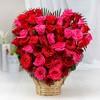25 Red & 25 Pink Roses In Heart Shaped Arrangement Basket