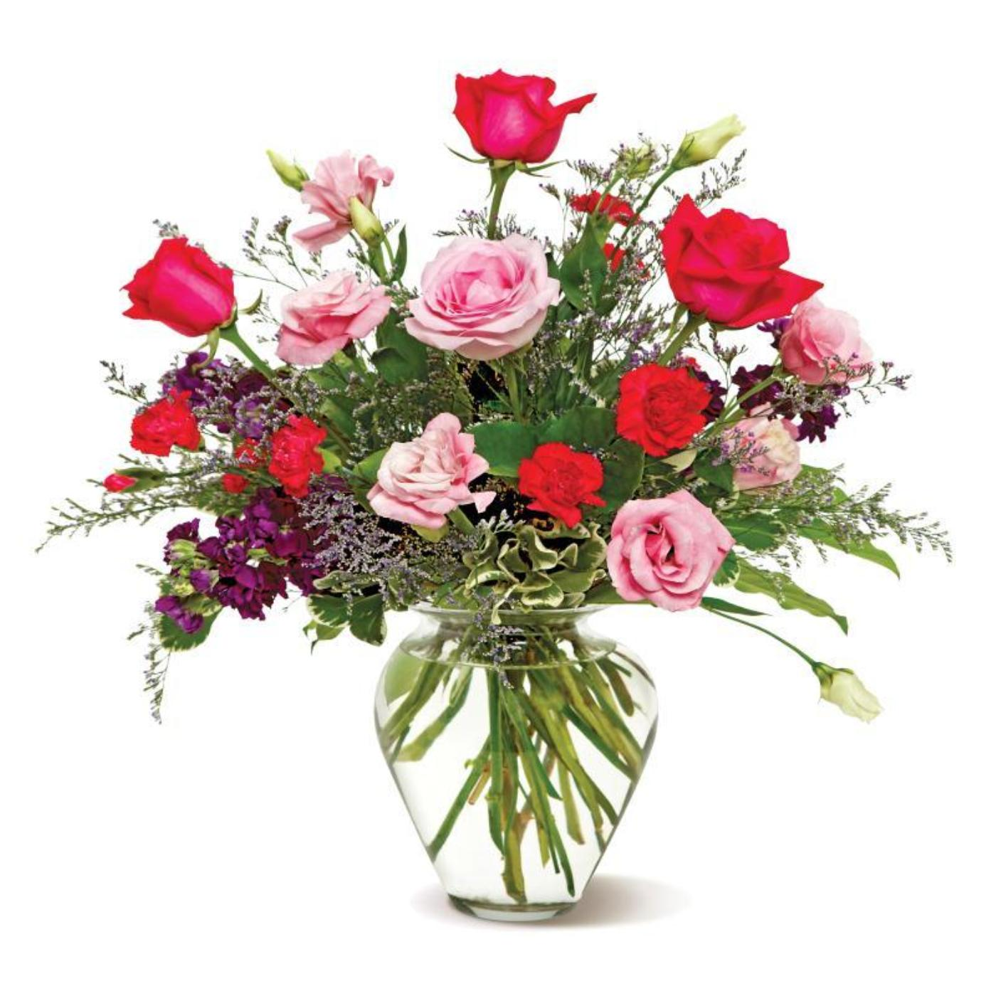 A Blush Of Color - Red & Pink Flowers in Glass Vase Arrangement