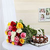 A Bunch of 25 Mixed Flowers with Half Kg Black Forest Cake