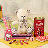 Adorable Teddy Bear with a Stationery Set and Box of Dukes Waffy