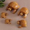 Antique Carved Wooden Turtle Set of 4