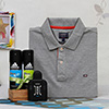 Arrow Grey T-shirt with Adidas Deo Set and Axe After Shave in a Gift Bag