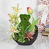 Artificial Lilies and Tulips with Grass Sculptured Teddy in a Ceramic Pot