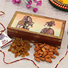 Assorted Dry Fruits in a Wooden Box with Roli Chawal