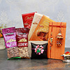 Attractive Family Rakhi Set with Lindt Chocolate Pack and Dry Fruits in a Basket