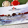 Attractive Red Stone Thread Rakhi