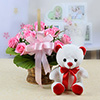 Basket Arrangement of 10 Pink Roses with 12 Inch Teddy