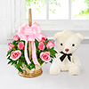 Basket Arrangement of 10 Pink Roses with 6 Inches Teddy