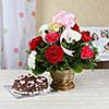 Basket Arrangement of 15 Mixed Carnations with 1 Kg Black Forest Cake