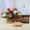 Basket Arrangement of 15 Mixed Roses with Dryfruits & Assorted Cookies