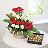 Basket Arrangement of 20 Mixed Carnations with 400Gms Assorted Dryfruits