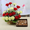 Basket Arrangement of 20 Mixed Carnations with 500Gms Assorted Dryfruits