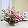 Basket Arrangement of Pink Lilies & Purple Orchids