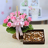 Basket of 10 Pink Roses with 500 gms Assorted Dryfruits