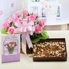 Basket of 10 Pink Roses with Assorted Dryfruits & Greeting Card