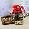 Basket of 12 Mixed Flowers with Dryfruits & Ferrero Rocher Box