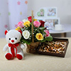 Basket of 15 Mix Roses With 6 Inches Teddy & 400 Gms Assorted Dryfruits