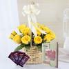 Basket of 15 Yellow Roses with Cadbury Dairy Milk & Greeting Card