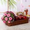 Basket of Apples with Bunch of 6 Pink Roses & Ferrero Rocher Box
