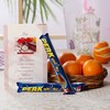 Basket of Oranges with Perk Chocolates & Greeting Card For Father