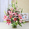 Beautiful 15 Pink Lilies in a Glass Vase