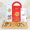 Beautiful Rakhi with 400g Assorted Dry Fruits
