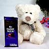 Beige Teddy Bear with Cadbury Dairy Milk